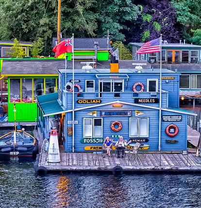 Seattle is noted for it's neighborhood of Houseboats. These are truly floating homes that are moored on Lake Union with outrageous views of downtown.