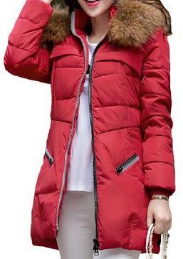 OUXIN Women's Faddish Furry Collar Front Zip Closure Down Coat