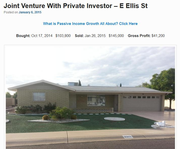 Joint Venture With Private Investor – E Ellis St