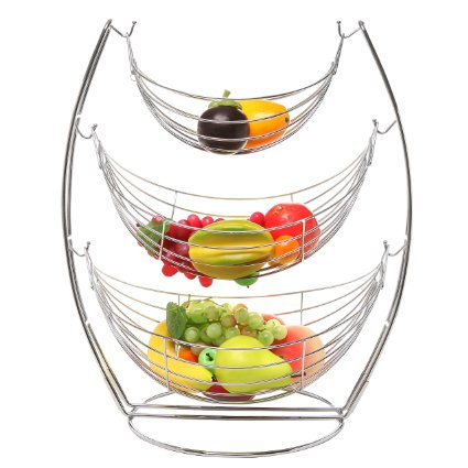 Click for: 3 Tier Chrome Triple Hammock Fruit  Vegetables  Produce Metal Basket Rack Display Stand