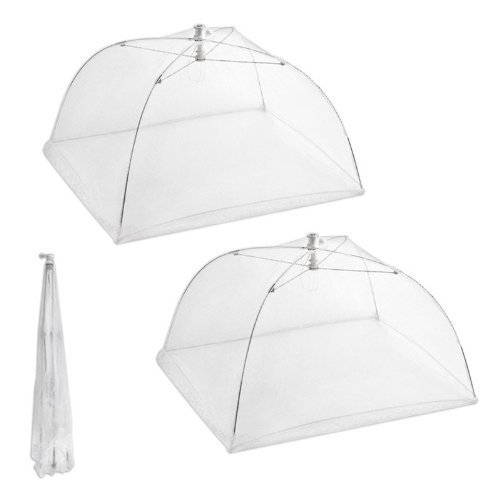 "•  Don't let annoying and unsanitary bugs & insects ruin your outdoor dining and entertaining  •  Set of 2 large nylon mesh screen tents cover plates, serving dishes up to 12"" diameter  •  Galvanized steel wire frame - not plastic like lesser models - pops-up and locks in place  •  Fold flat for simple storage, hand-washable and reusable; great for barbecues, camping & picnics  •  Two food cover tents, each 16"" x 16"", accommodate dishes to 6"" height; nylon mesh; colors may vary"